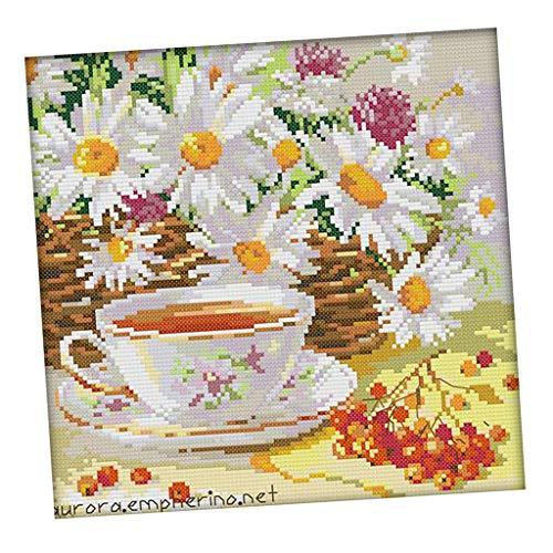 B Baosity DIY Handarbeit Kreuzstich Stickerei Stickpackung Set, Blumen und Tee Muster für Kinder, Erwachsene, Anfänger Handwerk - 14CT 28x28cm -