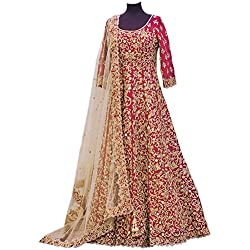 Ethnic Empire Women's Banglory Silk Anarkali Salwar Suit Set (Eed-Ea11144_Red_Free Size)