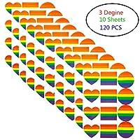 Rainbow Stickers, 120 Pieces LGBT Gay Pride Stickers Love Rainbow Color Stickers Love Round Square Rainbow Stickers, for Gay Pride Parade Carnival Party Decoration