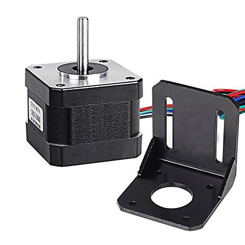 Doris Direct Nema 17 Schrittmotor Stepping Motor Bipolar 12V / 0,4A 26Ncm (36.8oz.in) Haltemoment 4-lead W/1 m Pin Kabel + NEMA 17 Montagehalterung für 3D Drucker/CNC