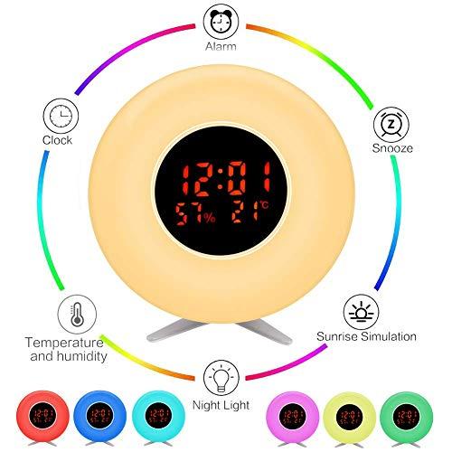 Pulchrarm Despertador Luz Infantil Luz Nocturna con Simulador de Amanecer, Temperatura, Humedad, Luz...