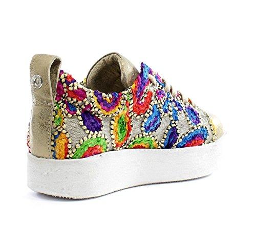Andia Fora Sneakers Elen Boxy Ricami Ecru Shine Gold Shine Gold