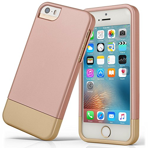 iPhone 5S Fall, iPhone SE Fall, asstar Slider Case 2-Teilige Zwei Farben Polycarbonat Kombination Entworfen Schutz Hard Cover für Das Apple iPhone 5/5S/SE, Rose Gold (15 Screen Mac Protector)