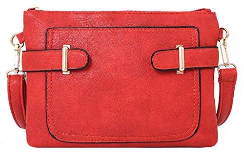 Kukubird Lisbeth In Ecopelle Con Tasca Frontale & Dettaglio Cinghia A Tracolla Sling Tracolla Messenger Handbag Red
