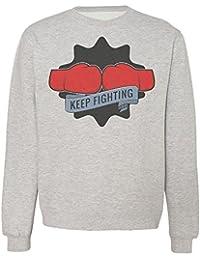Keep Fighting Two AwesomeRed Boxing Gloves Design Sudadera Unisex