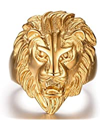 Ocamo Non Fading 316L Stainless Steel Men Boys Vintage Jewelry Golden Lion Head Modelling Rings