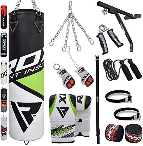 RDX Boxsack Set Gefüllt Kickboxen MMA Muay Thai Boxen mit wandhalterung Stahlkette Training Handschuhe Kampfsport Schwer Punchingsack gewicht 4FT 5FT 17PC Punching Bag (16-gauge-box)