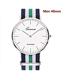 Geneva Men/Women's Watches Three-Colour Nylon Strap Simple Classic Style Silver Case Unisex Wrist Watches