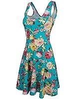 HRYfashion Damen Kleid Slim-Fit armlos mit Blumendruck