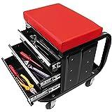 Atelier Chaise haute avec roulettes Chariot à outils avec tiroirs à outils Noir/rouge