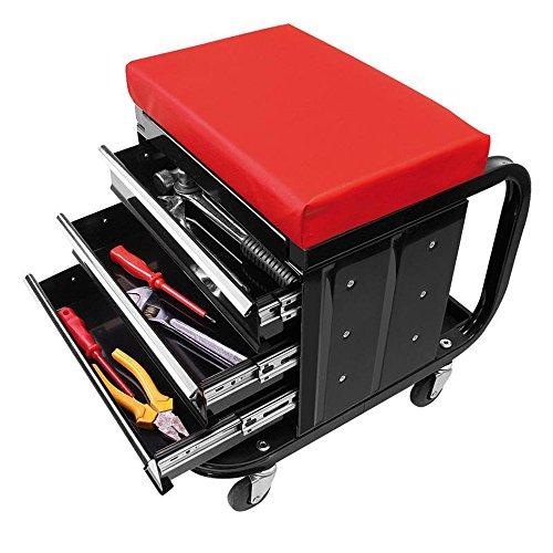 Werkstattstuhl Hoch mit Rollen Werkzeugwagen mit Schubladen Rollwagen Werkzeug schwarz rot
