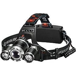 Linterna frontal LED de VicTsing, Alta Potencia 5000 Lúmenes, Tiene 4 modos de Luces y La batería dura alrededor de las 6 HORAS y Hasta 300 Metros Para Camping, Pesca, Ciclismo, Carrera, Caza