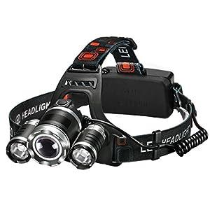 Linterna frontal LED, VicTsing Linterna de cabeza 5000 Lúmenes, 4 modos de Luces y hasta 400 metros Para Camping, Pesca, Ciclismo, Carrera, Caza ( 2 Pilas recargables Incluidas, Impermeable IP65)