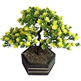 Sofix Decorative Artificial Bonsai Plant Wild Tree For Indoor Decoration With Wooden Pot Natural Looking Bonsai Plant - Best Quality - 20 Cm (Yellow)