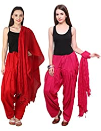 Pistaa Combo Of 2 Full Best Indian Pure Cotton Readymade Punjabi Solid Patiala Salwar Matching Dupatta Set