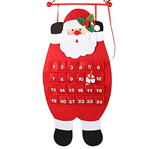 D-FantiX 3D Santa Felt Advent Calendar Countdown to Christmas Calendar Indoor Decorations, Red and White