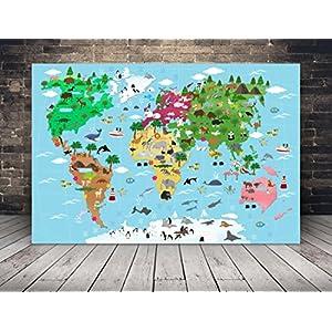 XXL Illustrierte Weltkarte für Kinder mit vielen süßen Tieren 120 x 80 cm Leinwand mit Keilrahmen