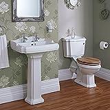 Hudson Reed Badezimmerausstattung Belmont - Keramik-Set mit Säulenwaschbecken und 2-Teiliger Toilette mit Spülmechanismus und Holzsitz im Viktorianischen Stil