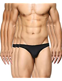 BASIICS by La Intimo Men's Black, Black, Black Semi-Seamless Feather Weight Brief (Pack of 3)