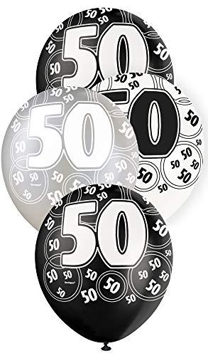 Unique Party Supplies 6 Luftballons 50. Geburtstag schwarz-weiß (Schwarz Party-ideen Und Geburtstag Weiß)