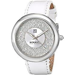 Sperry top-sider Damen 10018658Sandbar Edelstahl Uhr mit weißem Leder Band