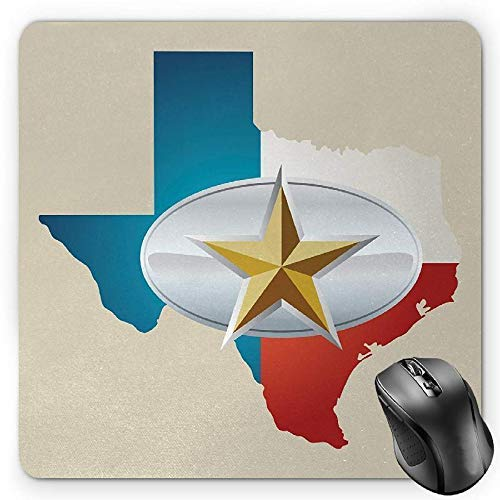 Texas Star Mouse Pad, Cowboy Belt Buckle Star Design with Texas Map Southwestern Parts of America Gaming Mousepad Office Mouse Mat Multicolor -