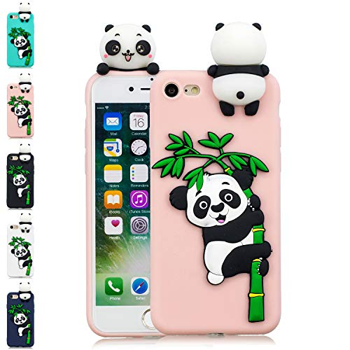 LA-Otter Coque iPhone 5 5S Se Rose Panda Ultra Fine Slim Mince Silicone TPU Gel Bumper Coque Housse Etui 3D Motif Antichoc