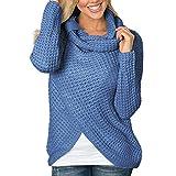 OverDose Damen Herbst-Winter-tägliche Art-Frauen-Lange Hülsen-Feste unregelmäßige dünne Datierungs-Sweatshirt-Pullover-Oberseiten-Blusen-Hemd Outwear-Pullover(Blau,EU-38/CN-M )