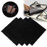 sunnymi®1PCS Reusable Aluminum Foil Burner Cover Non Stick Gas Range Stove Burner Cover Protector Liner Clean Mat Pad Perfect for Kitchen 27*4*27cm (Black)