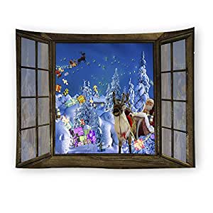 Coldtutu decorative polyester wall hanging tapestry beach for Christmas wall art amazon