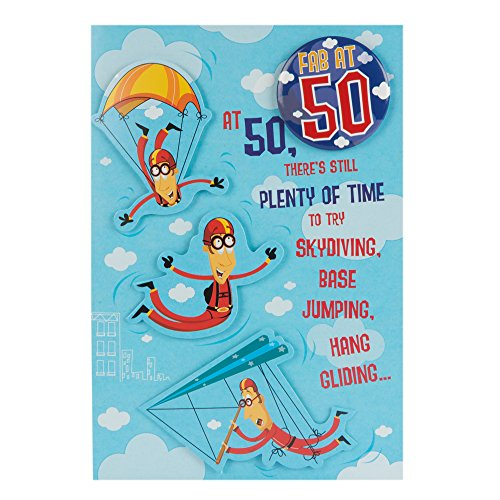 Hallmark 50th Birthday Card For Him 'Fab Badge'