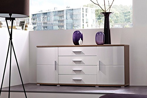 Sideboard in Sonoma Eiche-dunkel-Nachbildung, Fronten in weiß Hochglanz, 4 Schubkästen und 2 Türen, Maße: B/H/T ca. 160/70/44 cm
