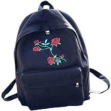 Bolso, Manadlian Mujer Mochila de viaje Chicas Bolso de flores bordado de lona Bolsa para
