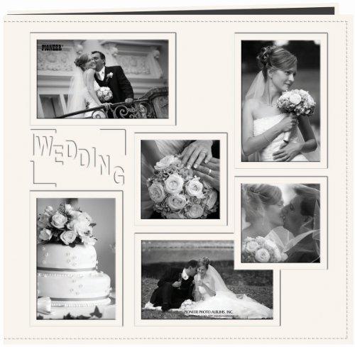 Pioneer Foto Alben Collage Rahmen geprägt Zoll Hochzeit Zoll genäht Kunstleder Abdeckung Memory Book, Elfenbein, (Fotoalbum Elfenbein)