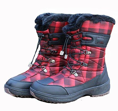 CHAOYANG-Schneeschuhe in Rohr wasserdichte Stiefel Schnee Frauen am Ende Sehne rutschen Outdoor Kletterschuhe weibliche Baumwolle , red , US7.5 / EU38 / UK5.5 / CN38 (Schnee Stiefel Für Frauen, Ugg)
