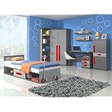 Habitación de los Niños Completo juvenil habitaciones Play 03(8piezas.) En el Color Antracita/Gris/Rojo Children Room