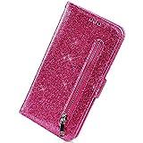 Herbests Kompatibel mit iPhone 8 / iPhone 7 4.7 Handyhülle Handytasche Glitzer Reißverschluss Leder Hülle Luxus Bling Glänzend Flip Case Leder Wallet Schutzhülle Kartenfach Ständer,Hot Pink