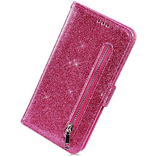 Herbests Kompatibel mit iPhone XS Max Handyhülle Handytasche Glitzer Reißverschluss Leder Hülle Luxus Bling Glänzend Flip Case Leder Wallet Schutzhülle Kartenfach Ständer,Hot Pink
