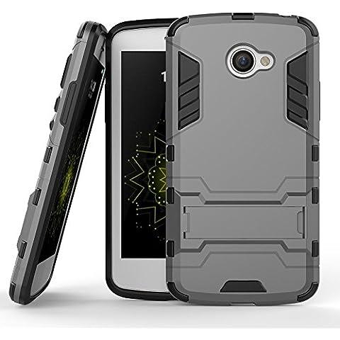 MOONCASE LG K5 Funda, [Heavy Duty] Híbrida Rugged Armor Case Choque Absorción Protección Dual Layer Bumper Carcasa con pata de Cabra para LG K5 Gris