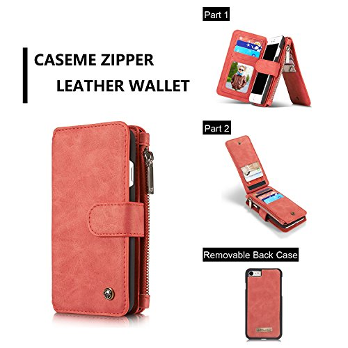 SDDMALL CaseMe Wallet Case für iPhone 7 4,7 Zoll Vintage Leder Multifunktionale magnetische abnehmbare Reißverschluss ( Color : Black ) Red