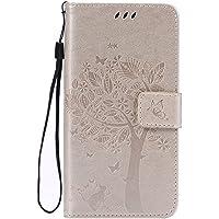 Chreey Coque Sony Xperia Z3 / L55u (5.2 pouces) ,PU Cuir Portefeuille Etui Housse Case Cover ,carte de crédit Fentes pour ,idéal pour protéger votre téléphone ,(arbre - chat)