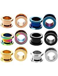 ERP 6 Par Pendientes para Dilatacion Oreja Piercing Oreja De Acero Inoxidable Mezclado En Múltiples Colores