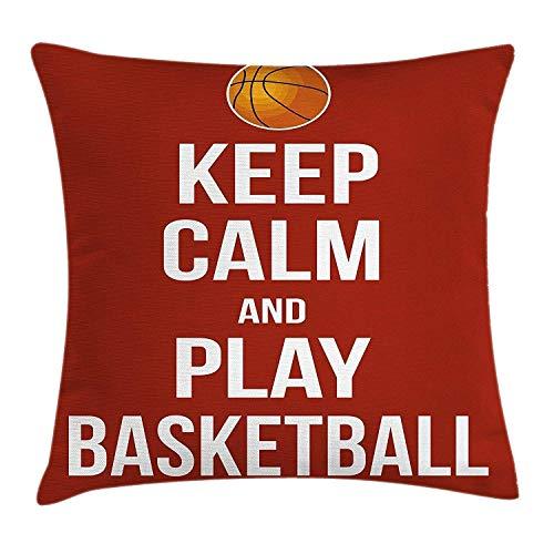 Fengxutongx federa per cuscino da camera ragazzo, keep calm play basketball citazione frase motivazionale pop culture poster, decorative square accent pillow case, arancione scuro bianco