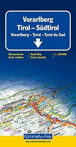 Carte routière : Vorarlbeg - Tyrol - Tyrol du Sud