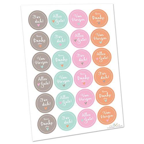 in due Geschenk-Aufkleber \'kleines Dankeschön\' mint, apricot, rosa & grau - Sticker für Geburtstag, Weihnachten oder Zwischendurch