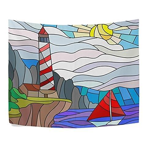 coloré vitrail Phare et voilier Soleil Ciel et mer Polyester Home Decor tapisseries tentures Taille complète Salon Décoration, Polyester, multicolore, 80x60