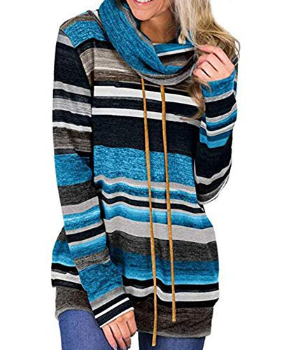Calvin Klein Gestreifte Pullover (Babao Damen Wasserfallausschnitt Lange Ärmel Gestreifte Drawstring Pullover)