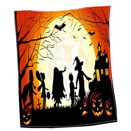 SM SunniMix Hundedecke Katzendecke Warme Flanell Decke 135x75cm - Halloween Mondschein