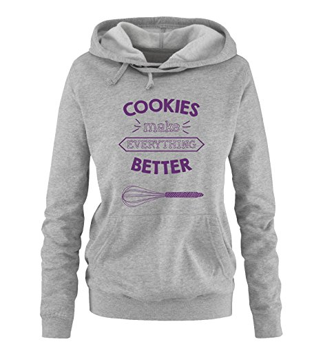 Comedy Shirts - Cookies Make Everything Better - Damen Hoodie - Grau/Lila Gr. XL - Cookies Wanderer