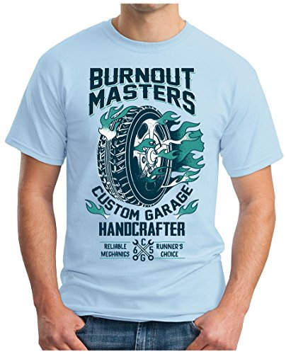 OM3 - BURNOUT-MASTERS - T-Shirt GEEK, S - 5XL Himmelblau